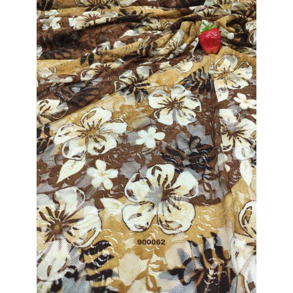 elasztikus csipke / nyomott virágokkal /barna-drapp