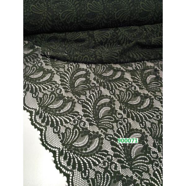 elasztikus,bordűrös csipke /leveles /sötétzöld
