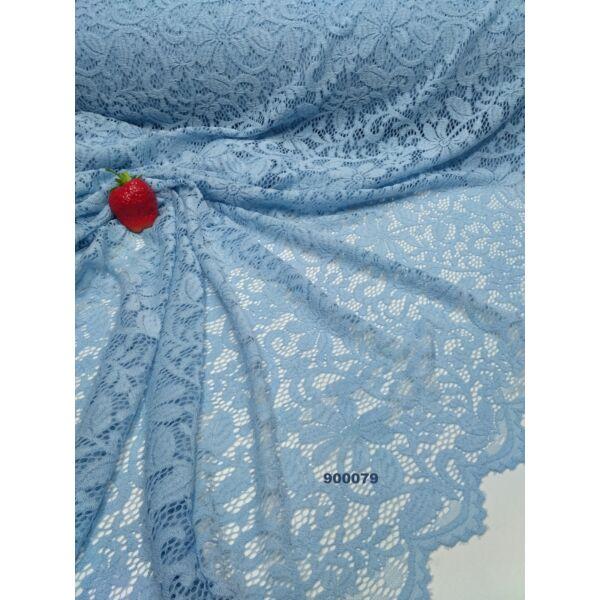 elasztikus, bordűrös csipke /kisvirágos-indás világos kék