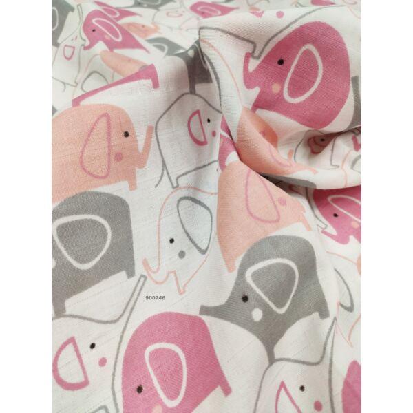 pelenka-pamut muszlin /elefántok( rózsaszín 6cm*5cm)/ rózsaszín