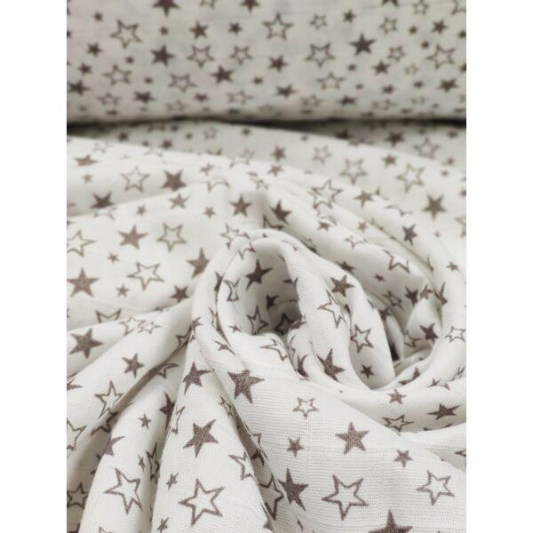 pelenka-pamut muszlin /szürke apró csillagos /fehér
