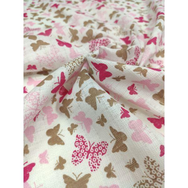 pelenka anyag /pillangók (legnagyobb pillangó 3cm*3cm) /pink-barna