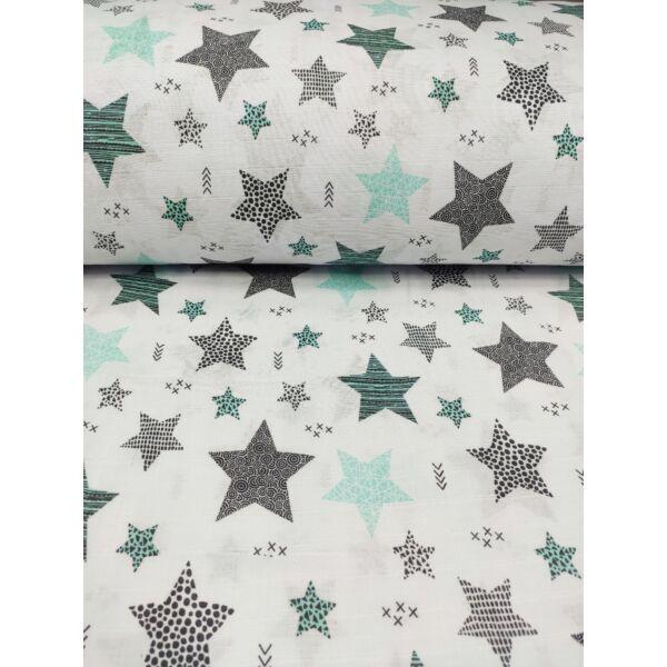 pelenka-pamut muszlin /pöttyös, csíkos kis-nagy csillag (csíkos 6,5cm*7cm) /menta