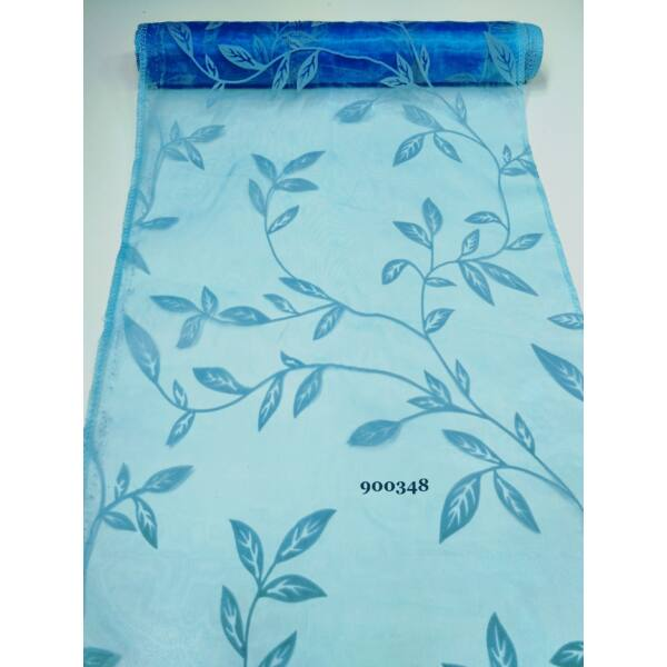 mintás organza /leveles /kék