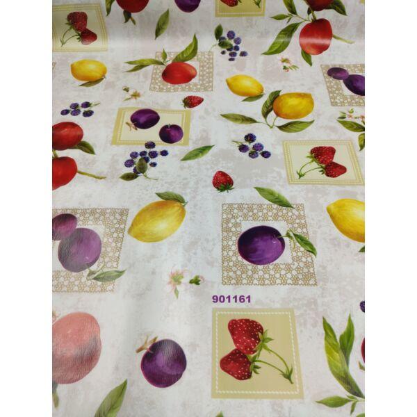 viaszos vászon / gyümölcsök (eper kockában 9.5cm×7.5cm) /drapp márványos