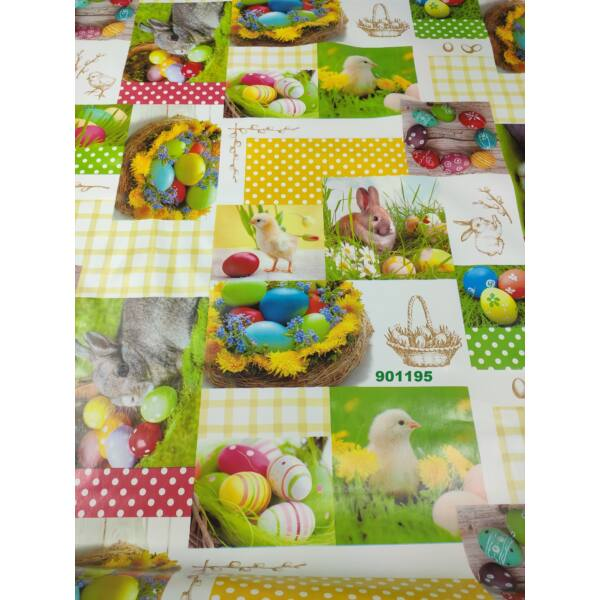 viaszos vászon /Húsvéti nyuszik (tojáskoszorú 13,6cm*13,9cm)