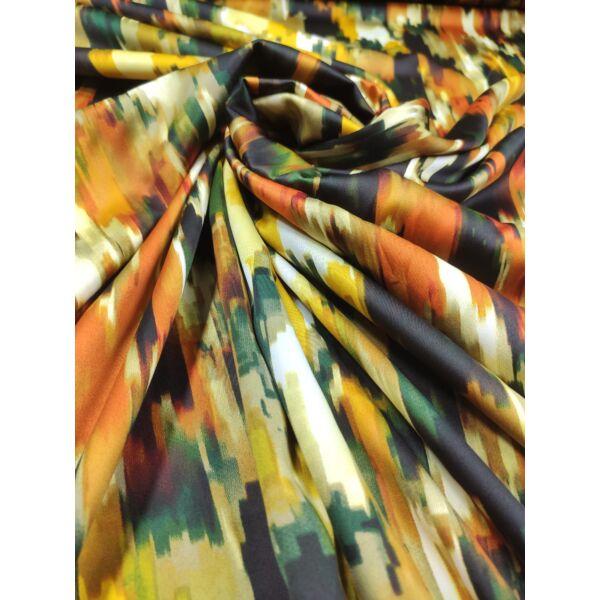 mintás elasztikus selyem /színes absztrakt minta /fekete-terrakotta
