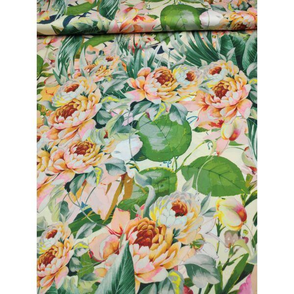 mintás elasztikus selyem /színes virágok levelekkel /krém